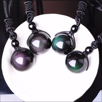 Natural stone Black obsidian pendant Necklaces Transport bea...