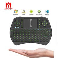 2017 I9 Mini tastiera wireless con LED verde retroilluminato 2.4 GHz Fly Air Mouse telecomandi touchpad per PC, pad, Android TV Box