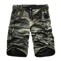 Wholesale-2016 New Arrival High Quality Plus Size 29-38 Mens Casual Shorts Men's Camouflage Loose Cargo Shorts Mens Multi-Pocket Shorts