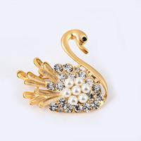 Strass animaux mode coréenne Little Swan diamant broches personnalité accessoires nobles broches bijoux