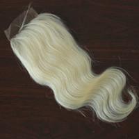 Vücut Dalga Bakire Brezilyalı Saç 130% Yoğunluk Dantel Kapatma # 613 Sarışın Ücretsiz Bölüm Dantel Kapatma Ağartılmış Knot 100 $ İşlenmemiş İnsan Saç 4x4 '