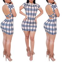 2017 Sexy Damen Schlank Kurzarm Plaid Paket Hüfte Kleid Frauen Sommer Kleider mini backless bodycon QF-032