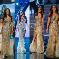 Vestido Мисс Вселенная 2015 Zuhair Мурад арабские вечерние платья русалка золотой стороне щели Кристалл бисером кружева тюль выпускного вечера знаменитости платья