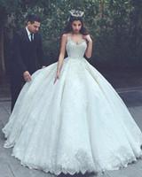 2018 Vestido De Novia árabe Dubai correas espaguetis elegantes vestidos de novia vestidos de bola apliques de encaje niveles vestidos de novia de tul BA6756