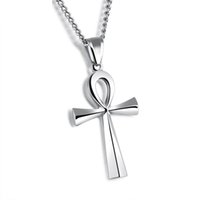 Egyptian Jewelry Stainless Steel Ankh Cross Pendant Necklace...
