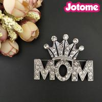 50 unids / lote tono de plata regalo del día de la madre corona mamá palabra Rhinestone Crystal Pin broche para traje