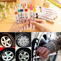 12 قطعة / المجموعة الملونة للماء سيارة الإطارات الإطارات فقي المطاط الطلاء الدائم ماركر القلم