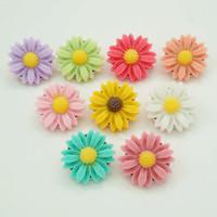 Venta al por mayor- Nuevo 10 unids Belleza mixta 20mm Resina Daisy Snaps Botones Fit Simple Fit DIY Pulsera de bricolaje Flowers Venta al por mayor NS0016