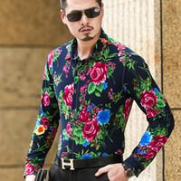Al por mayor-5XL 6XL más el tamaño para hombre de manga larga de algodón camisas de algodón floral camisa de los hombres Slim Fit hombre casual importados ropa Camisa Social T1