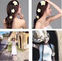 Женщины свадебные аксессуары для волос свадебные волосы Pin Frangipani подсолнечника заколки для волос головные уборы заколки для невесты свадьба ювелирные изделия 8 см