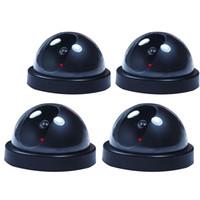 4 PC Telecamera di sicurezza per videosorveglianza a cupola fittizia falsa con luce flash di registrazione
