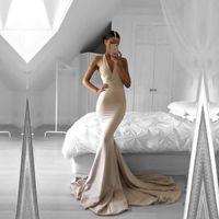 2017 Ucuz Halter Uzun Mermaid Abiye Seksi Kolsuz V Boyun Sweep Tren Gelinlik Elbiseleri Robe de Soriee BA5478