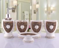Acessórios de banho de resina de cor preta elegante 5 peças conjuntos de banho 1 saboneteira + 1 saboneteira + 1 porta-escovas + 2 xícaras R01