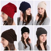 Fashion Lattice Wool Hats Comfortable Pure Color Folds Men A...