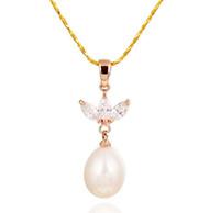 9-10mm weiße rosa lila 3 farbe natürliche perlen anhänger halskette hm-205