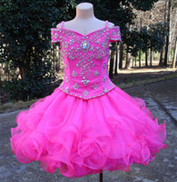 Modern Real Photos Little Girls Pageant Dresses Rhinestone B...