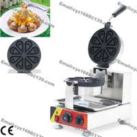 Grátis Commercial Use Non-stick 110v 220v elétrica Ice Cream flor em forma girado Waffle Máquina Baker Ferro Mold Pan