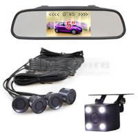 Monitor de espejo retrovisor de coche de 5 pulgadas Radar de estacionamiento por video 4 sensores + 4 x LED Sistema de asistencia de estacionamiento de cámara de visión trasera para automóvil