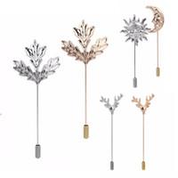Wholesale- Foglie spilla per gli uomini Costume bavero collo oro Plaid spilla gioielli in argento accessori broches bijou spilla di sicurezza broschen