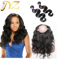 360 lace frontal with bundles Brazilian virgin hair body wav...
