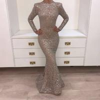 Vrais images 2019 robes de soirée cristal robes de bal champagne sombres robes de bal à manches longues Sliviver brillante Youssef Aljasmi Mermaid Fête Robes