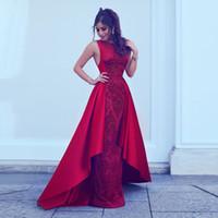 Red Prom Kleider mit Satin-Zug Pailletten Sicke Mantel Party-Kleid ärmellos Zipper zurück Celebrity Kleider Abendgarderobe