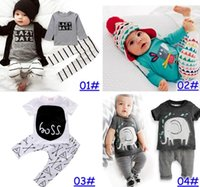 Nuevos INS Baby Boys Girls Letter Sets Top T-shirt + Pants Kids Toddler Infantil Trajes de Manga Larga de Primavera Niños Ropa de Regalo