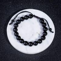 New Obsidian Frisado Pulseiras para Homens Hematita Corda Tecido Infinito charme Pulseira para as mulheres perder peso Jóias acessórios Pessoais Manguito