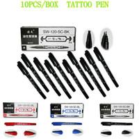 YILONG 10PCS/Box Black Dual-Tip Tattoo Marking Pen Skin Marker Stencil Tattoo Piercing Positioning Supply For Permanent Tattoo Makeup