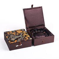 Dragon Mönster Silk Brocade Box Bomull Fyllda Dekorativa Förpackningsboxar För Armband Presentväska Kinesisk Craft Cardboard Smycken Förvaringslåda