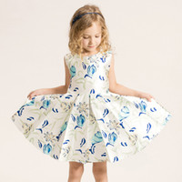 Summer Children Girls Dresses Sleeveless Floral Printed Roun...
