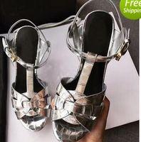 Новый дань патент/мягкие кожаные сандалии на платформе Женская обувь T-ремень высокие каблуки сандалии Леди обувь насосы оригинальная кожа