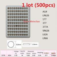 500 قطع 1 وحدة AG4 LR626 177 377 377A SR626 L626 LR66 1.55 فولت بطاريات زر خلية البطارية القلوية عملة صينية حزمة شحن مجاني