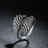 Genuino 925 Sterling Finger Anillos Majestic Phoenix Feathers Clear CZ Amazing Promise Wedding Rings para Mujeres R103