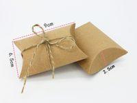 All'ingrosso-vintage bianco corda kaki caramelle di cioccolato scatola regalo di carta per il compleanno festa nuziale decorazione del mestiere del regalo fai da te favore Wh