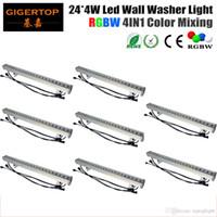 Wysokiej jakości 8 sztuk / partia 24 * 4W Outdoor Led Wall Washer Light RGBW LED Bar Light DMX Tryb, LED Stage Light Wodoodporna IP65 90V-240V