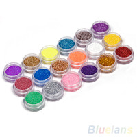 الجملة -18 ألوان مسمار فن الديكور مسحوق المعدنية بريق الغبار تعيين ل uv جل أكريليك 4PY1
