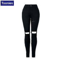 Toptan-Kadınlar Için Esneklik Yırtık Kot Yüksek Bel Kış Kot pantolon Strench Kalem Sıska Siyah Kot Femme Denim Pantolon Büyük Boy Pantolon
