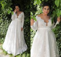 Jardim A linha Império cintura Lace Plus Size vestido de noiva com mangas compridas Sexy vestido de casamento longo para Plus Size casamento NADPW006