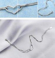 925 prata banhado pulseira jóias mulheres menina de coração com corrente de strass Fazer a ligação Charme Pendant Pulseira presente Europeia Natal do estilo