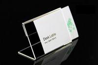 10pcs acrilico T1.3mm chiaro tavolo di plastica segno prezzo etichetta etichette display carta promozione titolari L forma nome carta scrivania cornice stand