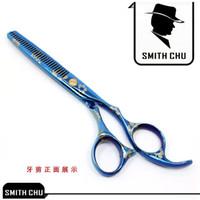 6,0 Zoll Smith Chu 2017 Neue Menschenhaar Effilierschere mit Sakura Muster Blau Haarschere für Barbers JP440C Neue Ankunft, LZS0011