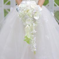 أبيض شلال الزفاف الزهور باقات الزفاف buque دي noiva اللؤلؤ باقات الزفاف الكريستال جودة عالية باقة خطاباتخطابهزوجات