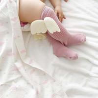 새 천사 날개 신생아 양말 코튼 어린이 양말 키즈 니트 무릎 양말 아기 소녀 양말 소녀 아기 의류 유아 의류 입고 A1195