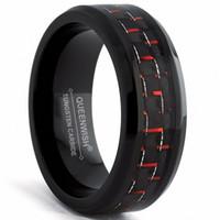 Queenwish Mens 약속 반지 8mm 텅스텐 카바 이드 약혼 반지 검정과 빨강 탄소 섬유 상감 매칭 커플 웨딩 패션 쥬얼리