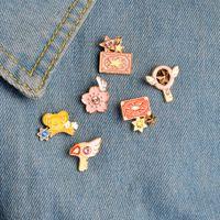 Карта Кадр Сакура Броши Kero Sword Kinomoto Звезда Палочка Ключ Эмаль Pin Отворачивается Значок Японской Аниме