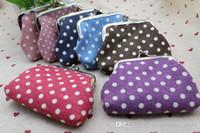 Hot fashion vintage mini fleur porte-monnaie toile dot petit argent sac portefeuille embrayage sac à main hasp fermoir porte-clés 7 couleurs lqb-212