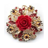 Spilla nuziale di cerimonia nuziale del Rhinestone del regalo di compleanno del perno della Rosa della resina della resina di modo 6 colori 10pcs che spedice liberamente