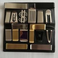 مزيج أحدث DIY فارغة مقطع المال / حامل بطاقة الائتمان الفضة الفولاذ المقاوم للصدأ 20PCS / LOT شحن مجاني