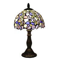 8 بوصة تيفاني نمط قزحية مصباح طاولة مكتب الزجاج الملون ضوء داخلي الإضاءة